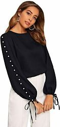 Romwe Womenand039s Long Sleeve Pearl Drawstring Button Spring Fall Blouse Top