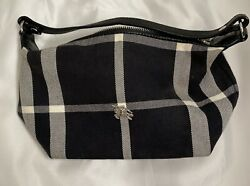 burberry small purse Black And White Plaid With Purple Satin Lining $115.00