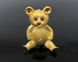 Vintage Lg 0.10ct Diamond And 0.10ct Ruby 18k Yellow Gold Hand Carved Teddy Bear P