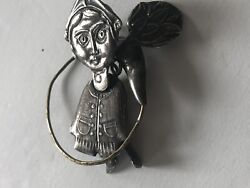Antique Rare Unique Sterling Articulated Handmade Movable Girl Working In Field