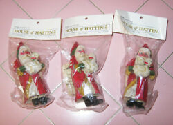1988 House Of Hatten 3 New In Package Santa Ornaments Duck Goose Denise Calla