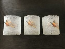 Vintage 3 Game Bird Pheasant Low Ball Glasses Gold Rim Sparkle Frosted Nice