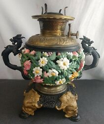 Bradley And Hubbard Oil Lamp Bandh Antique Victorian Dragon Cast Iron Dolphin Base