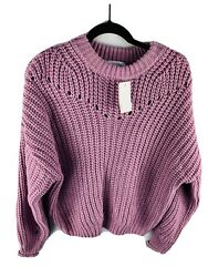 NWT NORDSTROM ELODIE Women#x27;s Open Knit Purple Sweater Size Small $12.99