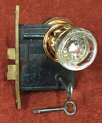 Antique Russwin Brass Mortise Lock Set W/2 Keys, Glass Knobs, And Brass Rings