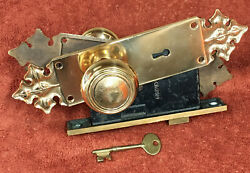 Antique Corbin Solid Brass Mortise Lock Set W/key, Knobs, And Heavy Duty Plates