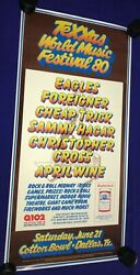 Real 1980 Texxas Jammworld Music Festival Concert Poster 15x31 Eagles Nr Mint