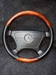 Rare Mercedes Steering Wheel Fits W124 W140 W202 W208 W210r129 Wood And Leather