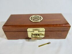 Chinese Rosewood Jewelry Chest Box With Brass Hardware And Lock, Silk Lined