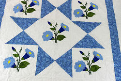 Hand Applique Morning Glory Star Design Finished Quilt - Queen Spread
