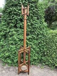 6' Tall Antique Arts And Crafts Mission Oak Hall Umbrella Stand Tree Ready To Use