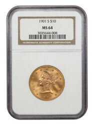 1901-s 10 Ngc Ms64 - Liberty Eagle - Gold Coin