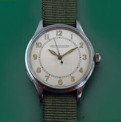 Vintage 40and039s Jaeger Le Coultre Stainless Steel Menand039s Military Raf Watch