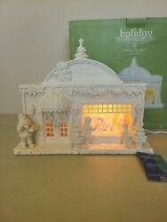 Dept 56 Holiday Silhouettes Santa's Toy Shop 78744 W/ Box And Tags Lighted White