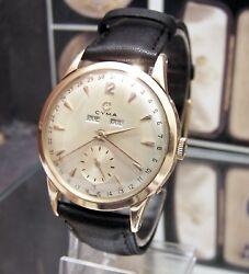 C1950and039s Antique Vintage V Rare Cyma / Tavannes Triple Date Solid 18k Gold Watch