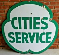 Vintage Original Cities Service Dual-sided 47 Porcelain Sign - Good Condition