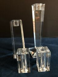 Oleg Cassini Crystal Lot 4 Pieces Candle Holders And Salt And Pepper Shakers