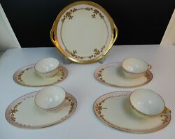 Vintage Set 4 Thomas Bavaria Germany Snack Plates And Cups With Cake Plate