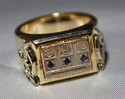 Heavy 14k Gold Diamond Sapphire Rare General Motors Gm Ring Almost One Ounce