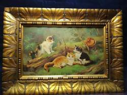Vintage Oil Painting Cats By R. Fisher, Germany, Size 36x30, On A Wooden, Rare