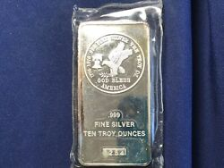 1976 Tri-state Refining And Investment 10 Ounce Silver Bar Sealed New Bu  E8208