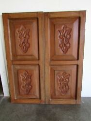 Antique Pair Mexican Old Doors 53-carved-primitive-rustic-37.5x45.5x2-short