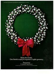 1989 Tanqueray Gin Bottle Wreath Christmas Bow Vintage Print Advertisement