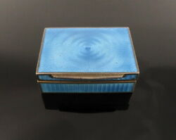 Antique English Sky Blue Guilloche Enamel And Sterling Silver Pill Box