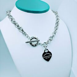 And Co 17inch Please Return To Sterling Silver Heart Tag Toggle Necklace