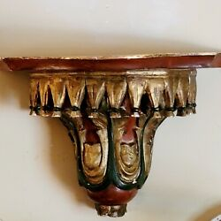 Antique Italian Carved, Gessoed And Polychrome Painted Wall Shelf/bracket