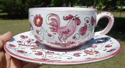 Vtg Italian Pottery Italy T.601 Pink Rooster Xl Grande Coffee Cup Mug W/ Saucer