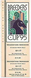 1995 Breeders Cup Grandstand Admission Ticket,entire Ticket Mint