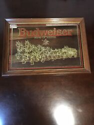 Rare 1988 Budweiser King Of Beers Gold Label Glass Mirror 20.5x14.5