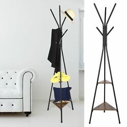 Vintage Coat Rack Stand Coat Tree Hall Tree Free Standing With 2 Shelves