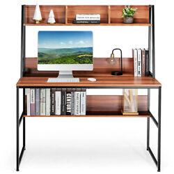 Topbuy Mufti-functional Computer Desk Pc Workstation W/ Open Bookcase New
