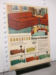 Newspaper Ad 1954 Kroehler Furniture Sleep Lounges Bed Sofa Couch Chair Table