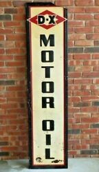 Vintage Original D-x Motor Oil 6and039 Embossed Tin Sign Mounted On A Wood Frame