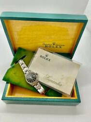 Rolex Oyster Perpetual Date 6516 Box And Warranty Black Dial Ladys Watch