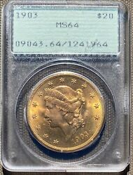 Ultra Sexy 1903 20 Gold Liberty Head Double Eagle Pcgs Ms64 Old Green Rattler
