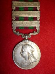 India General Service Medal 1895 V.r. 3 Clasps To Rhoda Singh Sirmoor Sappers