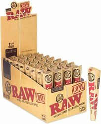 Raw Cones Classic 1¼ Size   32 Packs   Natural Pre Rolled Rolling Paper With Tip