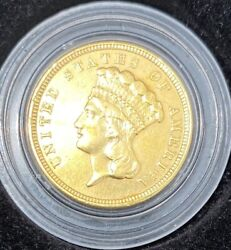 High Grade Must-own 1854 3 Gold Indian Princess First Year Of Rare Series