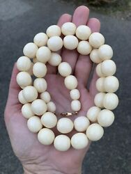 Vintage French Ivory Celluloid Lucite Beaded Necklace
