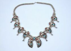 Native Sterling Silver Turquoise Coral And Faux Claw Necklace Gertie Ganadonegro