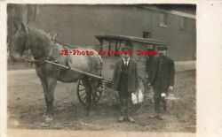 Il, Chicago Heights, Rppc, Dairy Horse Drawn Advertising Wagon