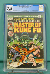 Special Marvel Edition 15 Master Of Kung Fu Cgc 7.5 1st Shang-chi 1973 Vf -