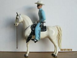 Vintage 1950's Hartland Early Champ Style Lone Ranger And Silver W/silver Tack