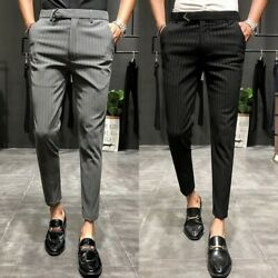 Men's Stripe Business Trousers High Quality Cotton Leisure Pants Clothing Size
