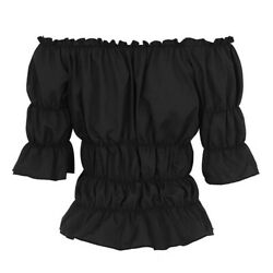 Women Medieval Chemise Shirt Victorian Gothic Retro Peasant Wench Off Shoulder $43.49