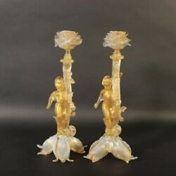 Outstanding Vintage Pair Of Huge Murano Glass Candle Holders Angels Gold Opaque